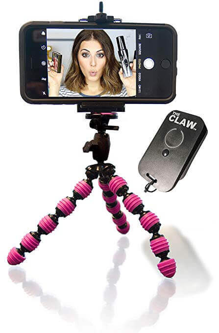 CLAW iPhone Tripod Bundle with Rechargeable Remote for iOS Locking Head Compact Mini Flexible GoPro Camera Video Vlogger Facetime Skype Webcam & Selfie by The