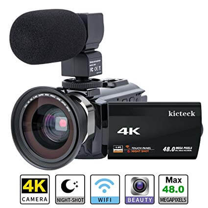 Video Camera Camcorder 4K kicteck Ultra HD Digital WiFi Camera 48.0MP 3.0 inch Touch Screen Night Vision 16X Digital Zoom Recorder