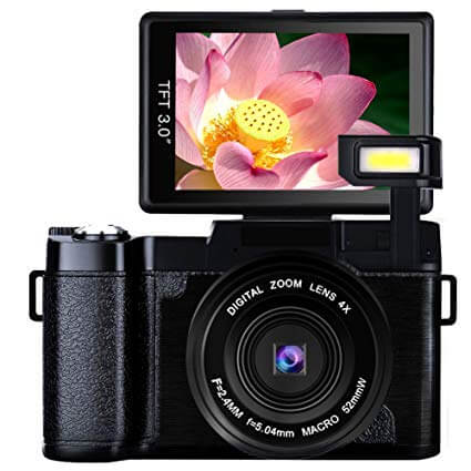 Vlogging Camera Digital Camera 24.0 MP Full HD 1080P 3.0 Inch Camera with Flip Screen Retractable Flashlight