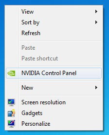 select NVIDIA Control Panel option
