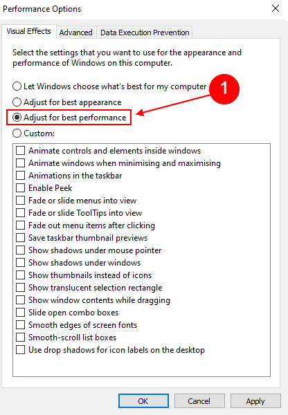 adjust for best performance windows 10