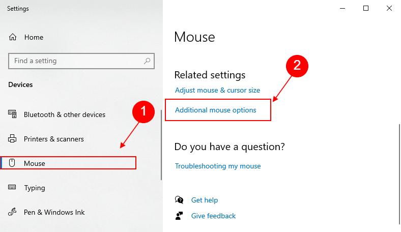 mouse settings