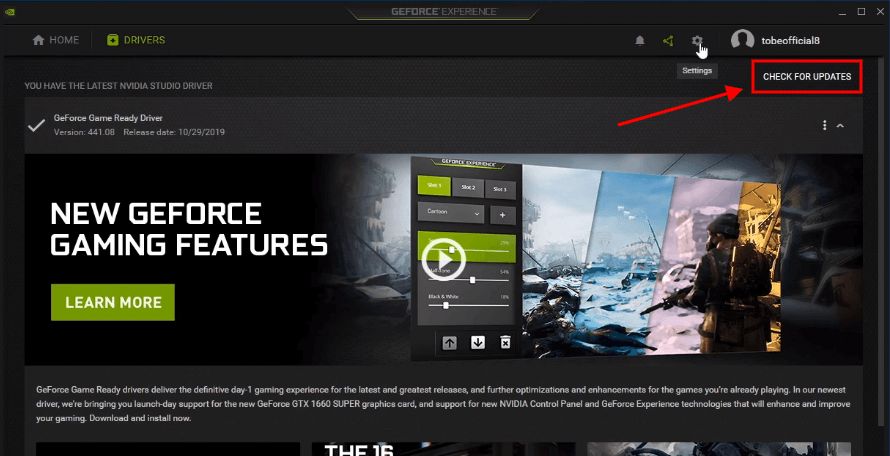 geforce experience update drivers