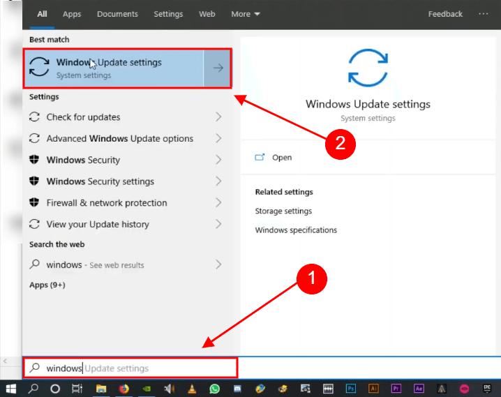 open windows update settings